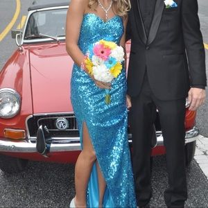 Dresses & Skirts - Blue Sequin Prom dress. Worn once. Size 0.